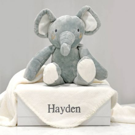 Personalised Blanket And Elephant Toy